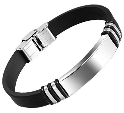 Men's Bracelet Stainless Steel Black Rubber Cuff Bangle Wristband 11223mm by Aienid. Solid Exquisite Finished Bracelet for mens. Stainless Steel,High Strength,Low Elongation. Perfect for Your Apparel;Size around:11*223mm. Comfortable to Wear,Please Treat Them Gently,Donot Rub Others. Nice Personalized Item,Nice Choice By Aienid Concept.
