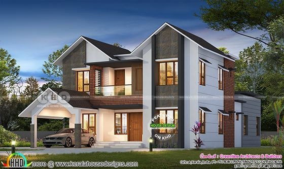 2777 Square Feet 4 Bedroom Sloped Roof Contemporary Home Kerala House Design House Architecture Design Architecture House