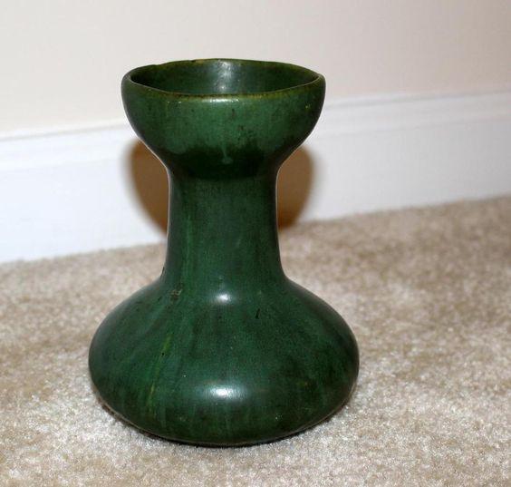 Zanesville art pottery matte green arts & crafts overflow glaze vase unique