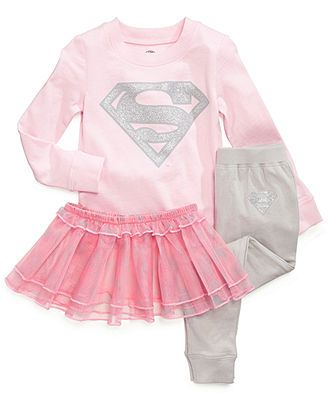 DC Comics Toddler Girls' 3-Piece Superhero Shirt, Pants & Tutu ...