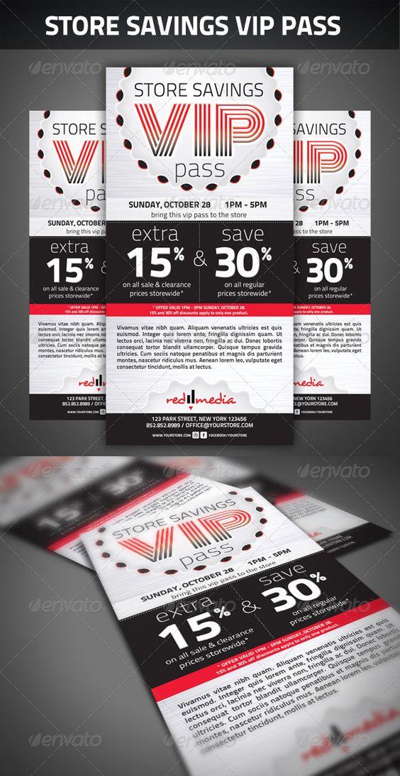 Store savings VIP pass Vip pass, Store and Print templates - free vip pass template