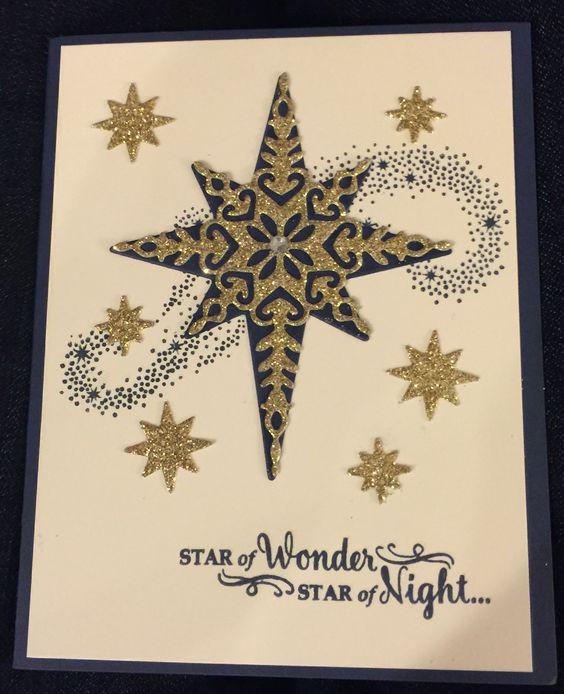 Stampin Up Star of Light   Night of Navy, Very Vanilla, 12x12 Glitter paper.