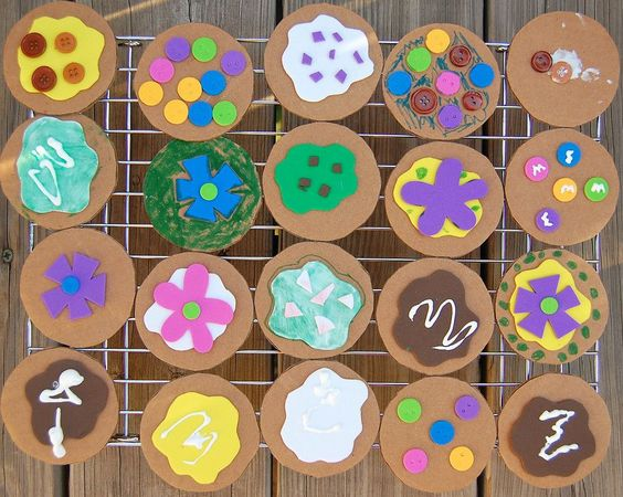 cardboard cookies for Dramatic Play Center. Kids interested can make them and open up a cookie shop to sell them! Signs, price tags, advertisements, coupons...so many things that a cardboard cookie could lead up to!  what a great idea to go with theme weeks!: