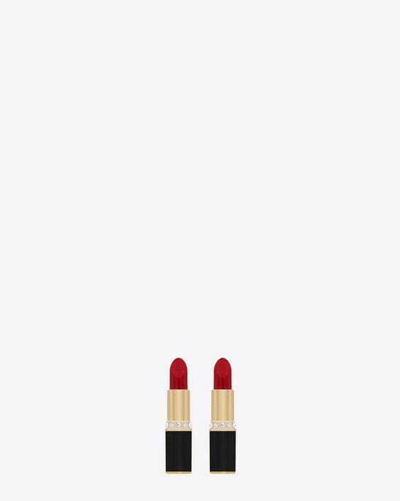 saintlaurent, EIGHTIES Lippenstift-Ohrringe aus goldfarbenem Messing, rotem und schwarzem Emaille und Strasskristallen