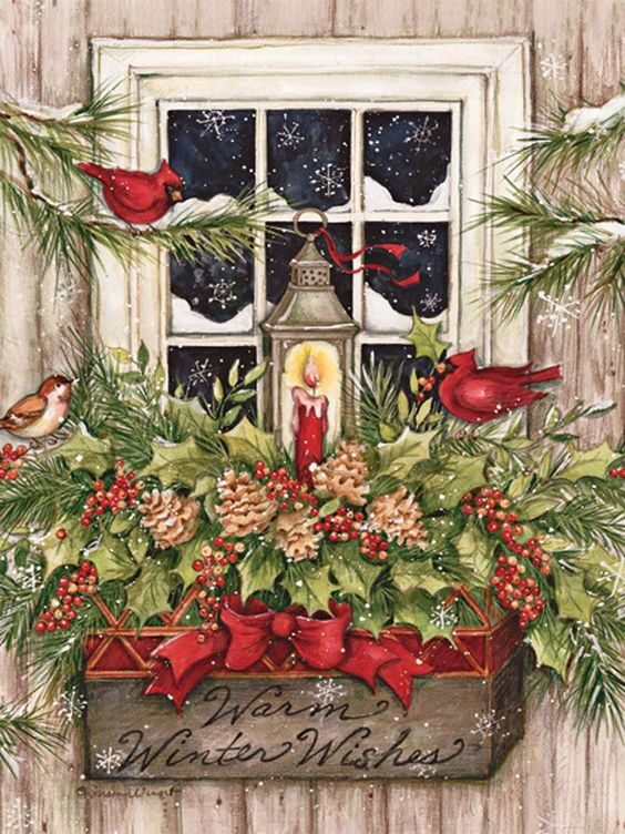 Window Box Snow Christmas Cards #Christmas #Cardinals: