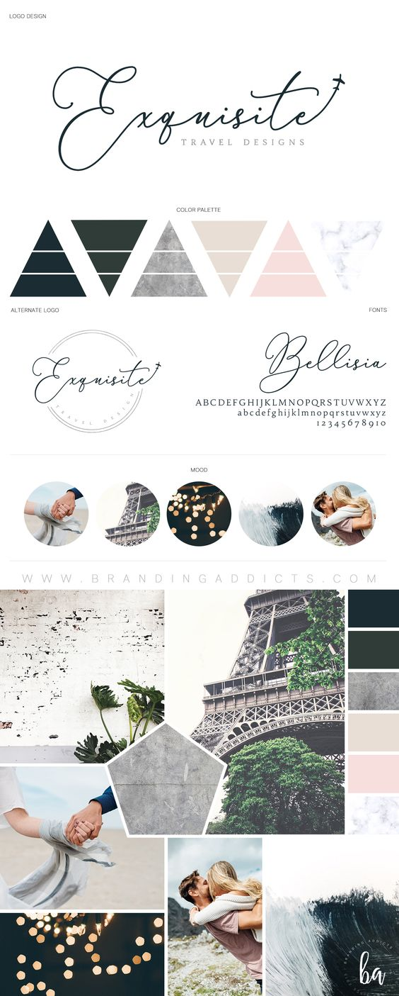 Fresh Brand Design for a Luxury Travel Business. Adventure. Romance. Blush pink. Concrete Texture. Slate Grey. Marble texture. Warm beige. This swoon worthy brand injects the romance back into family vacations. The plane icon incorporated into the primary logo design showcases the brand's targeted industry and market. Mood Boards. Branding. Graphic Design. Inspiration. Professional Business Branding by Designer Laine Napoli. Web Design, Logo, Mood Board, Brand Boards, and more.