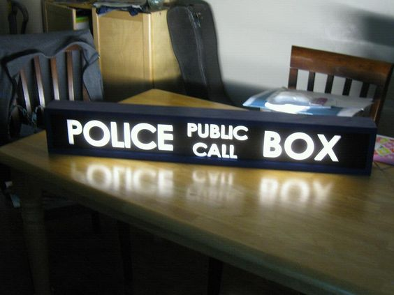 Illuminated TARDIS Police Box Sign From Doctor Who