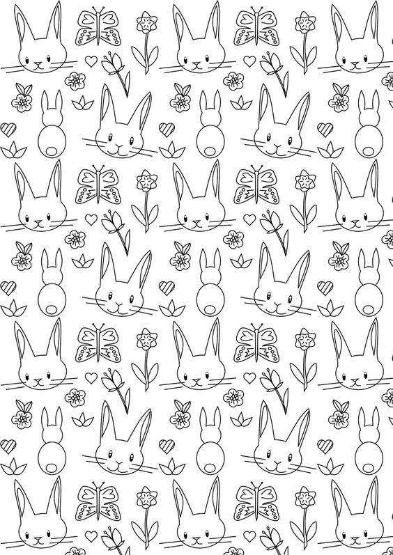 Free printable bunny coloring page - ausdruckbares Ausmalpapier - freebie | MeinLilaPark – DIY printables and downloads