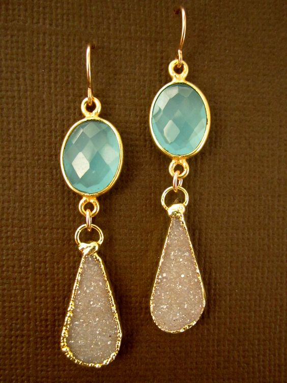 Sand Druzy Drusy Aqua Chalcedony Double Drop 24K Gold Vermeil Earrings.