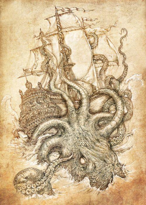 Kraken Unleashed byPaperCutIllustration