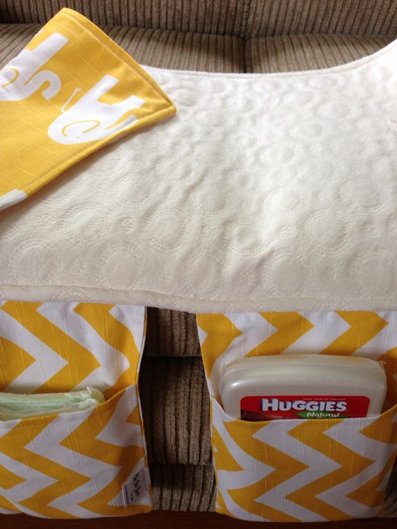 Baby Changing Pad and Diaper Clutch in Yellow by OhhSewSweetByJess, $24.00