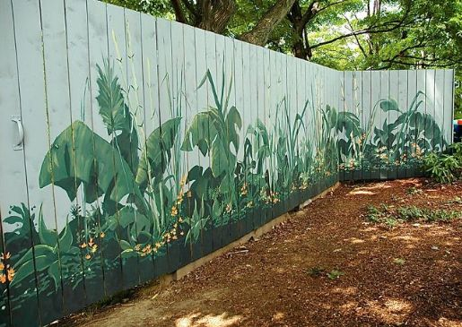 Fence Art   25 Pieces Of Art Using A Backyard Fence As The Canvas   Painted  Fences, Fence Art And Fenced Garden