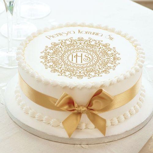 Oplatek Na Tort Uniwersalny Zlota Koronka O 20 First Communion Cakes Communion Cakes First Holy Communion Cake