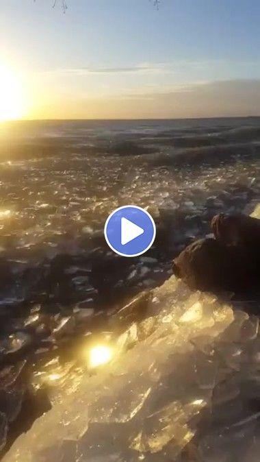 Mar de pedaços de gelo.