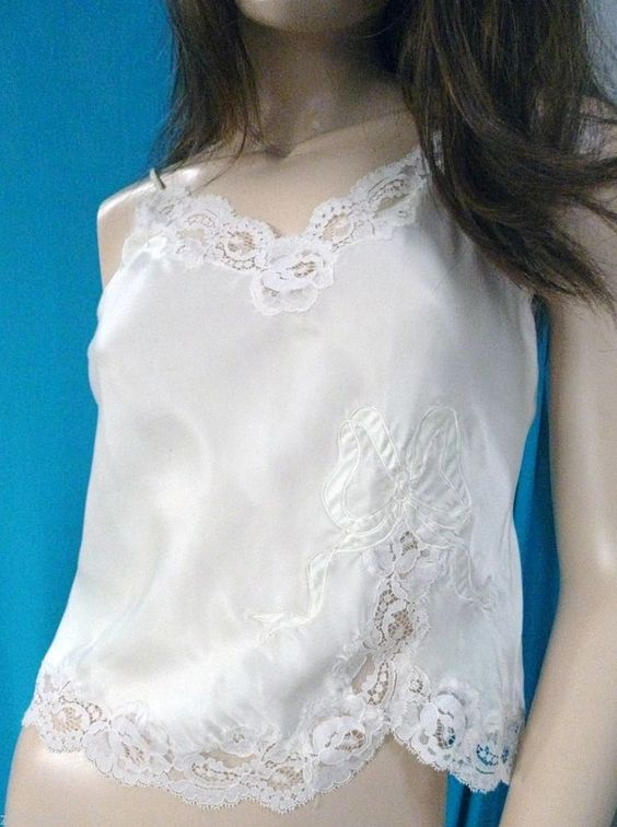 VINTAGE WHITE SATIN CHRISTIAN DIOR  EMBROIDERED LACE CAMI-VERY GOOD-M-L  #ChristianDior