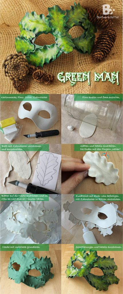 Green Man Mask - a symbol of nature and fertility. step by step tutorial with polymer clay. Perfect decoration for Beltane or may day celebrations