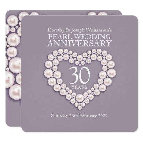 Pearl Wedding Anniversary 30 Years Party Invites Zazzle Com In 2020 30th Wedding Anniversary Card Pearl Wedding Invitations Anniversary Party Invitations