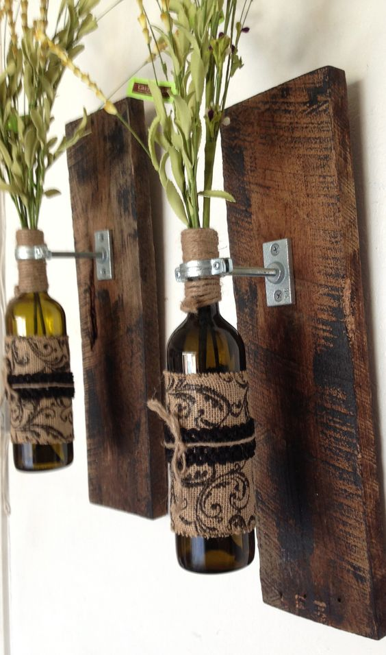 """Great Valentine gift.  Wall sconces with wild flowers.  Recycled wood about  22"""" x 6"""""""