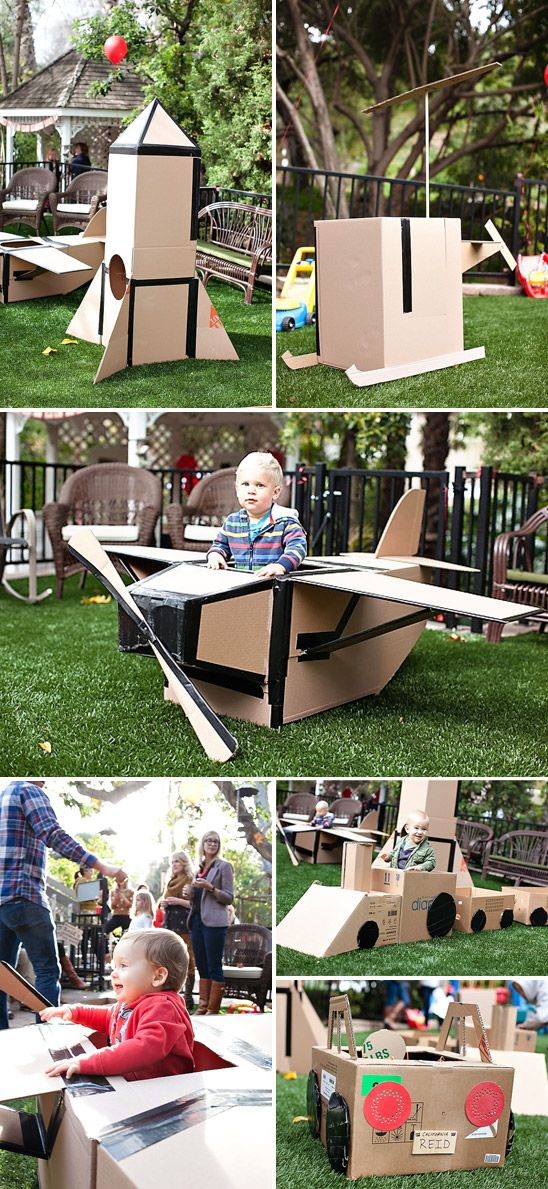 in love with this birthday party! Cardboard box theme. Filled with so many adorable details, including a cardboard play-yard. via ontobaby.com