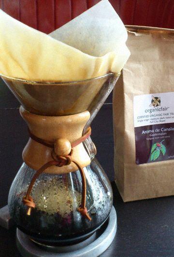 organicfair coffee brewed in a chemex