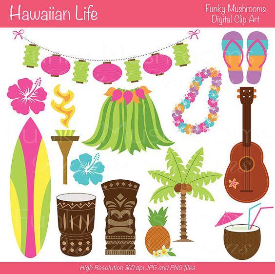 Digitale Clipart - Hawaiian Leben für Scrapbooking, Einladungen, Papier Handwerk, Karten zu machen, INSTANT DOWNLOAD kommerzielle Nutzung dr...