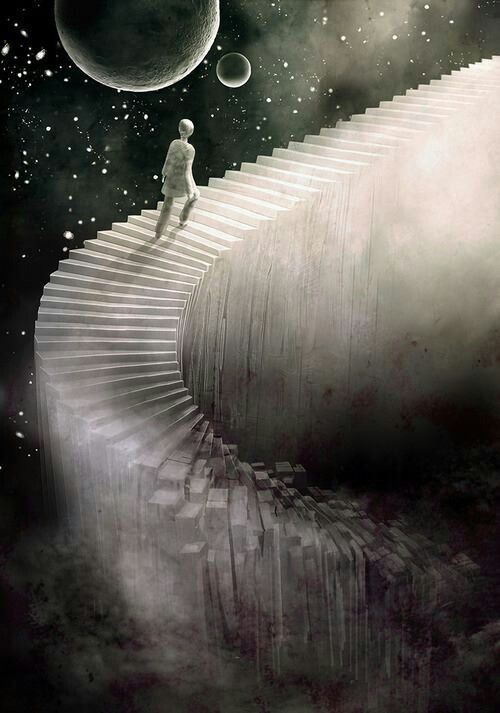 surreal art steps to the heaven: