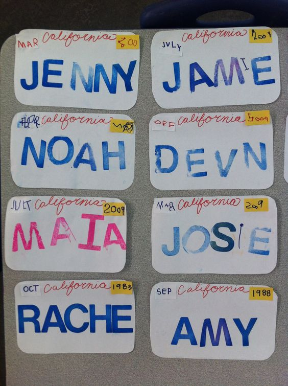 """Transportation week-License plates- kids wrote the month and year they were born for """"registration tags"""" and then stamped their names"""