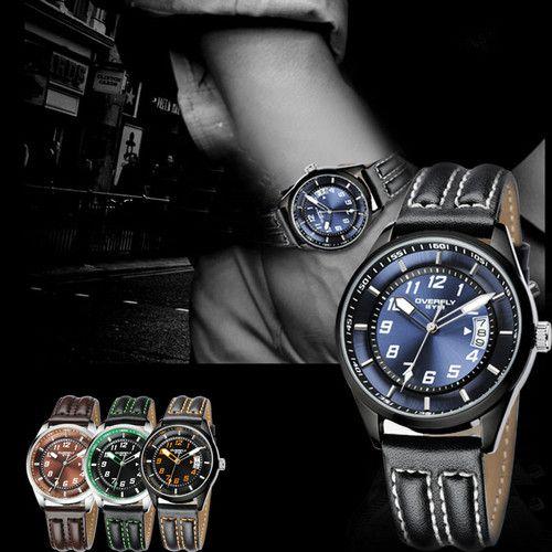 New EYKI Date Leather Men Fashion Quartz Luminous Pointer Wrist Watch 4 Colors