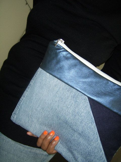 recycled  denim & leather large clutch bag. by sheakoffee -  via Etsy.