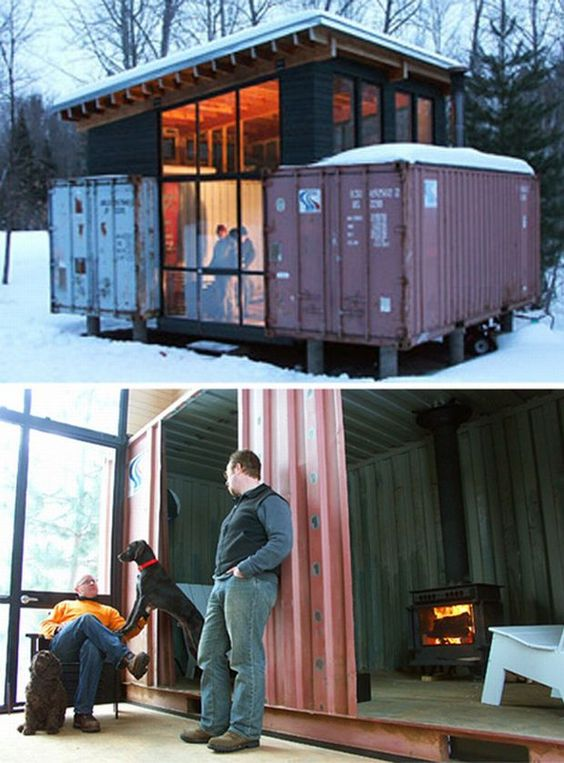 tiny house with containers architecture tiny house pinterest cabin house and storage. Black Bedroom Furniture Sets. Home Design Ideas
