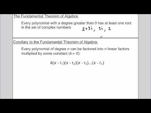 Fundamental Theorem Of Algebra Youtube Fundamental Theorem Of Algebra Algebra Theorems