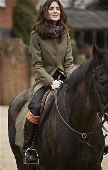 Fallow Long Tweed Coat in Olive Maroon