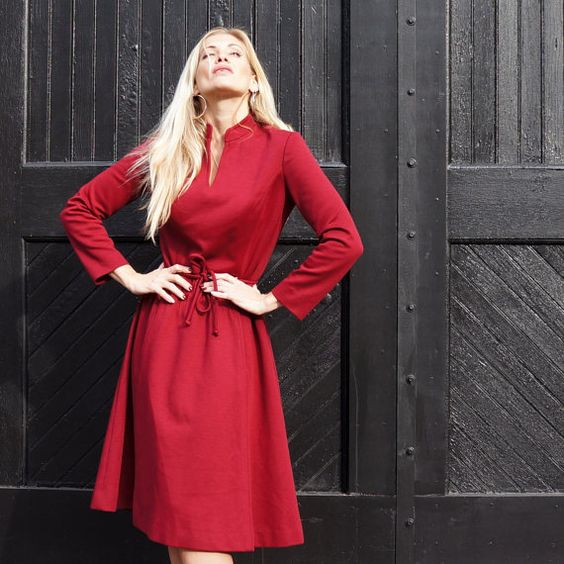 RED Wool Shift Vintage 70s Pretty Classic Dress by RenegadeRevival, $89.99