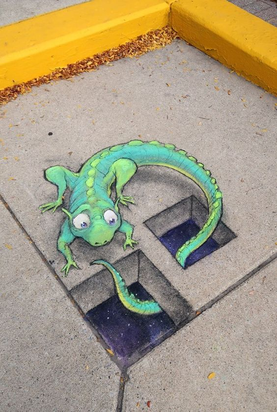 Chalk art by David Zinn At Dundee Farmers Market 2016