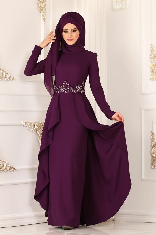 Modaselvim Abiye Pelerin Gorunumlu Abiye Asm2118 Murdum Print Chiffon Maxi Dress Muslim Fashion Hijab Fashion