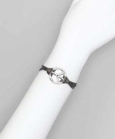 Take a look at this Silver Leather Peace Sign Bracelet by R U S H By DENIS & CHARLES on #zulily today!