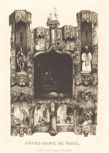 Frontispice pour Notre-Dame de Paris de Célestin Nanteuil, 1832, publié par Eugène Renduel pour les Œuvres de Victor Hugo, eau-forte, National Gallery of Art de Washington.