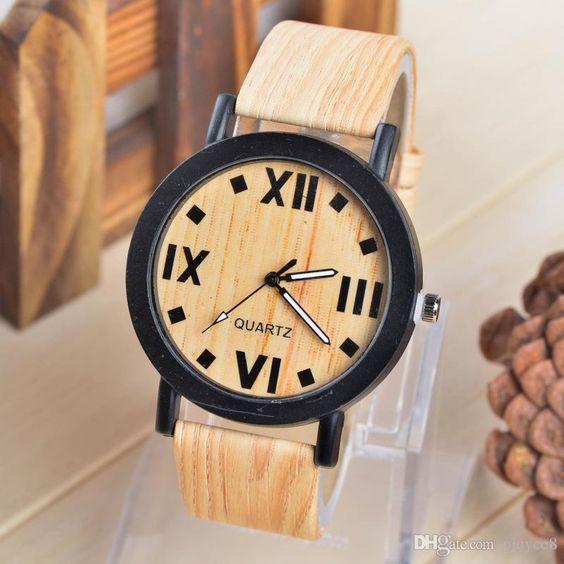 Neuesten Design Holz Eather Armband Uhr Herren Mode Sport Quarz Handgelenk Analog Uhr Armbanduhren Neu