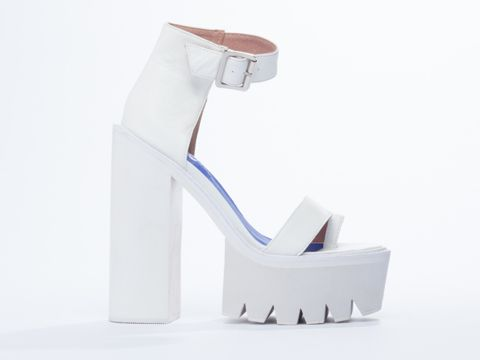Jeffrey Campbell Fabrizio treaded sole platform sandals in White at Solestruck.com