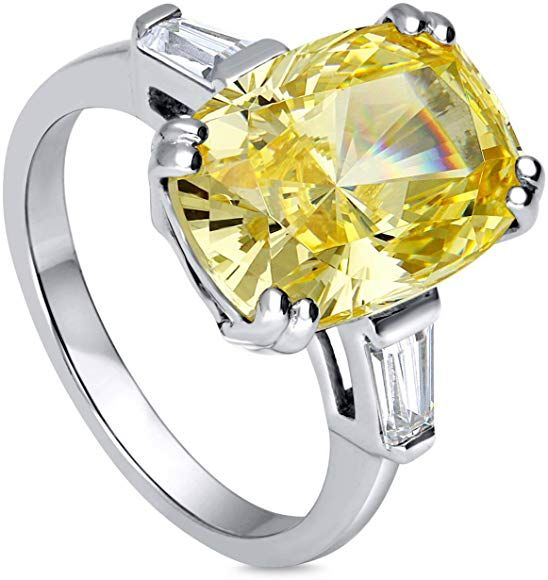 3CT Canary Yellow Square Cushion Cut CZ Cubic Zirconia Statement Engagement Ring Halo CZ Pave Band 925 Sterling Silver