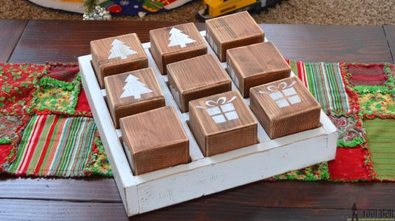 Build a fun DIY tic tac toe game out of simple lumber. Keep it traditional or customize it for a fun Christmas tic tac toe game. Free plans.