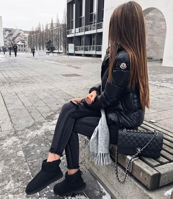 Trending Ugg Bailey Bow Boots Moncler Jacket Women Bailey Bow Uggs Outfits With Hats