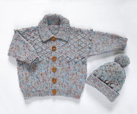 Boys Textured Jacket and Hat Set. Hand Knit Childrenswear.