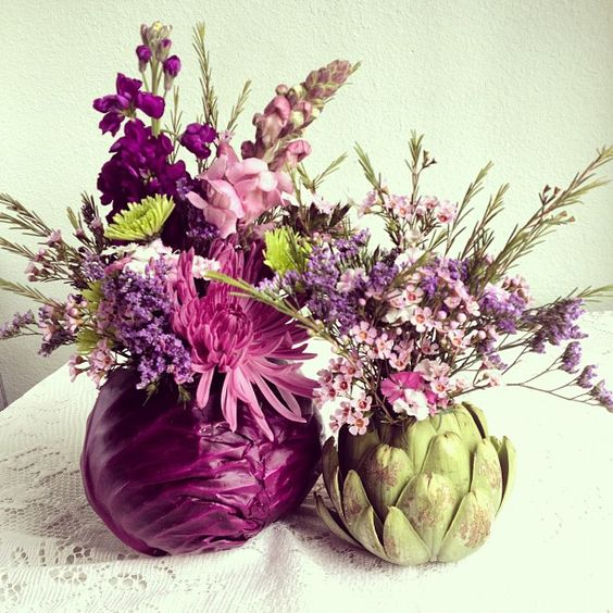 DIY flower arrangements out of cabbage and artichoke