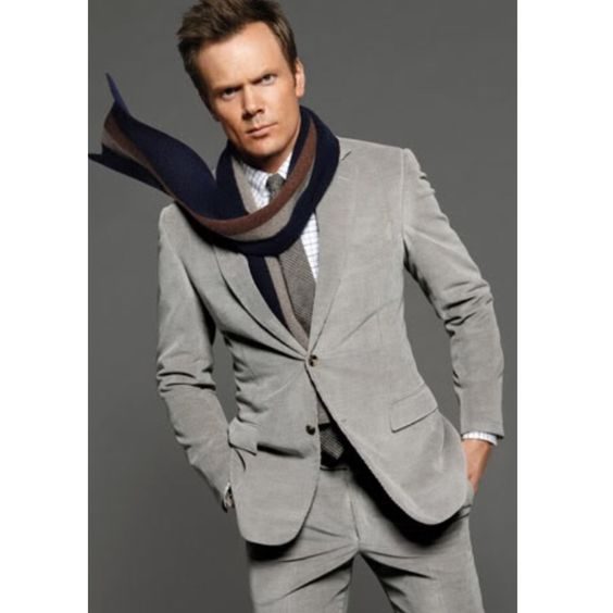 Joel and I love Joel- this grey corduroy suit is exactly what he wants for the wedding:) #JoelMcHale