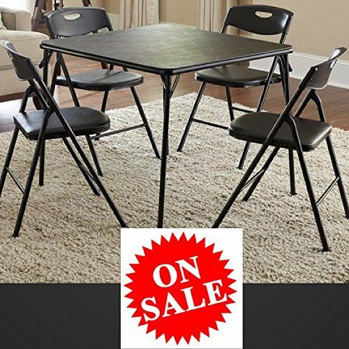 Black Metal Folding Table Set Small Portable Square Table Set Of 5 Pieces Table And Chair Set Kitchen Kitchen Table Settings Metal Folding Table Folding Table