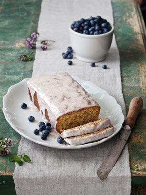 Pistachio-Cardamom Pound Cake, topped with a four-ingredient lemon glaze.