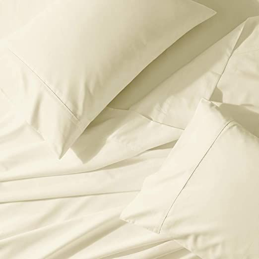 Abripedic 22 Deep Pocket Solid Ivory Queen 300tc Sheet Set Breathable Crispy Soft Percale Sheets In 2020 Percale Sheets Deep Pocket Queen Sheets Luxury Bed Sheets