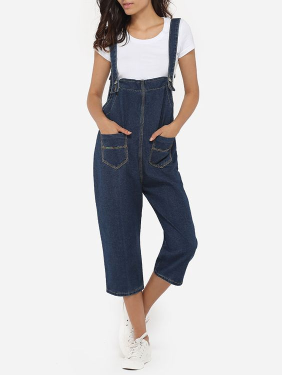 Loose Fitting Plain Patch Pockets Overalls