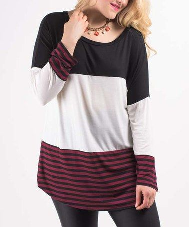 Another great find on #zulily! Black & Burgundy Color Block Tunic - Plus #zulilyfinds